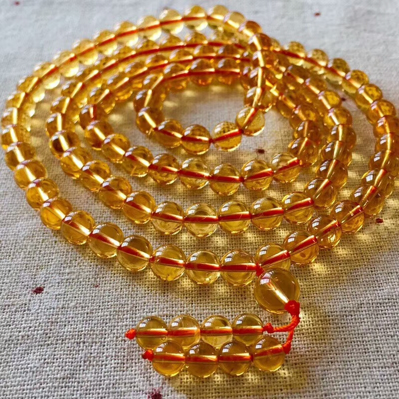 Natural Yellow Citrine Quartz Crystal Round 108 Prayer 7mm Round Beads Bracelets Crystal Stretch 3 Laps