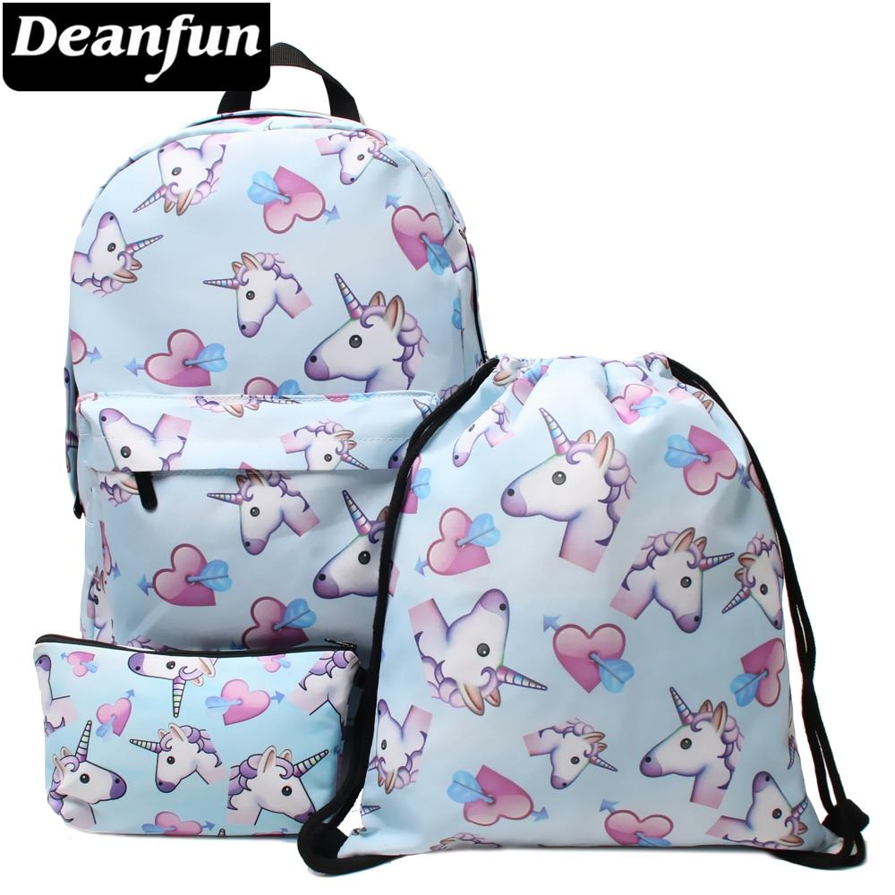 Deanfun 3PCS /set Backpack Unicorn Printing Cute Shoulder Drawstring Schoolbags Girls Gift