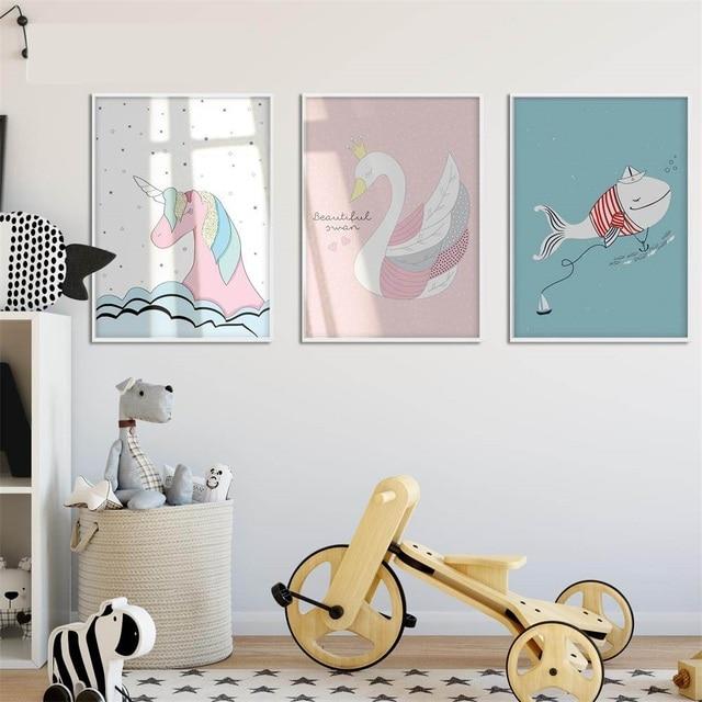 Koop zwaan eenhoorn walvis cartoon poster muur canvas prints minimalistische - Deco grijze muur ...