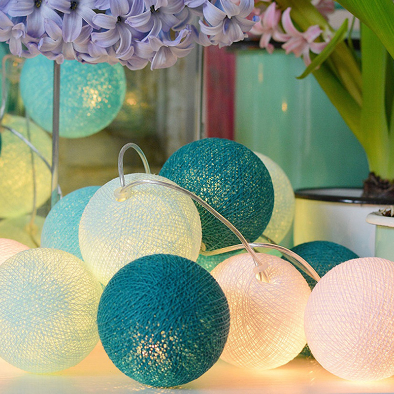 3M 20 LEDs Cotton Ball String Lights Xmas Lover Wedding Party holiday Bedroom Decorations Fairy Lamp Galands Battery Operated