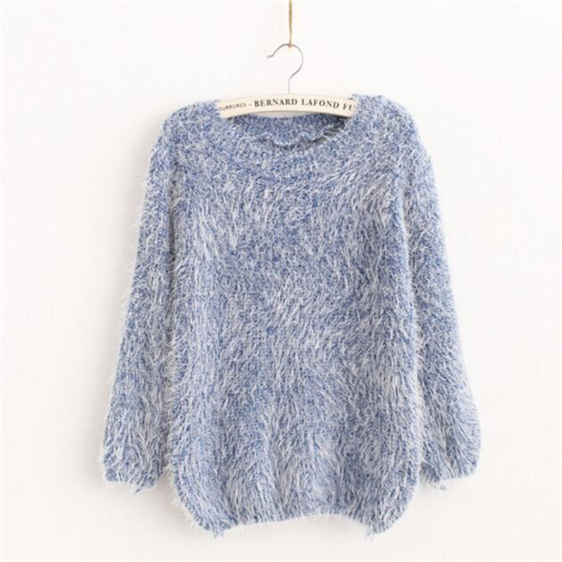 Knitted Sweaters Jumpers Women Pullovers O-Neck Mohair Loose Casual Spring Solid