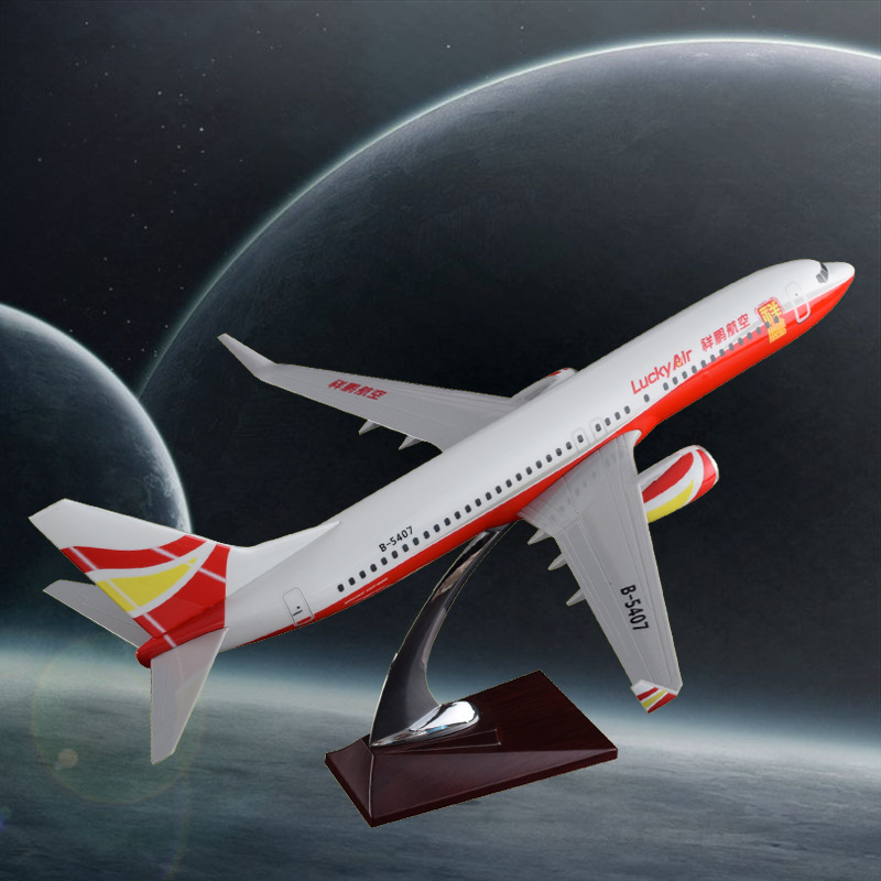 40cm Resin Aircraft Model Lucky Air Boeing 737 Airlines Airplane Model B737 Airway Airbus Model China Lucky Aviation Plane Model sale phoenix 11221 china southern airlines skyteam china b777 300er no 1 400 commercial jetliners plane model hobby