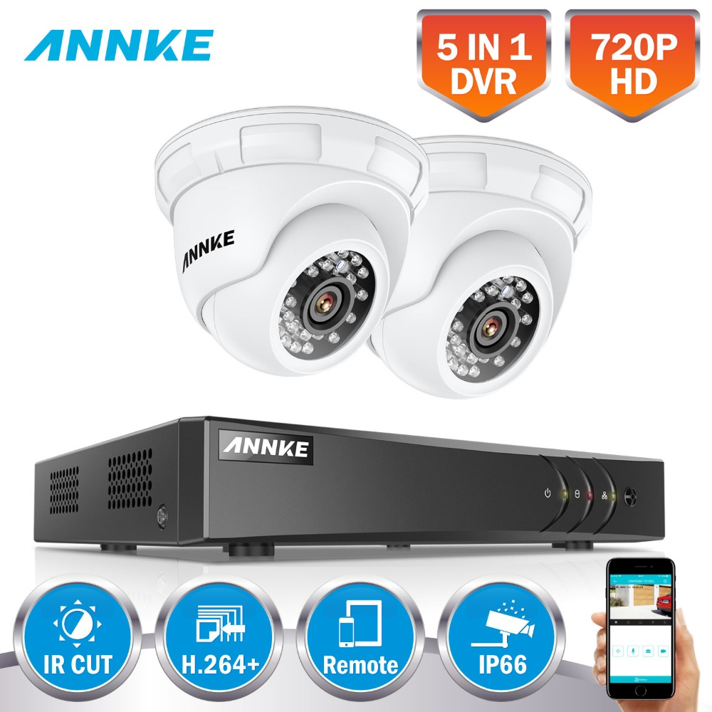 ANNKE 4CH 720P 1080N 5IN1 Security DVR System HDMI 2X 1200TVL TVI Weatherproof Outdoor CCTV Camera FHD H.26+ Surveillance Kit