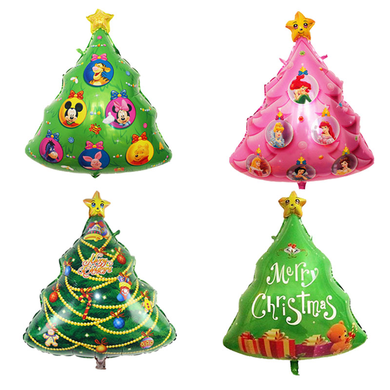 Christmas Tree Balloon.Us 1 06 24 Off Large Christmas Tree Shaped Foil Balloons Catoon Animal Christmas Tree Pink Princess Christmas Tree Balloon Decoration Balls In