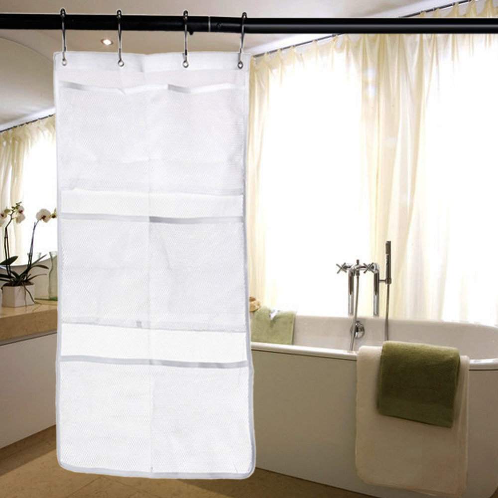 Hanging Shower Net Organiser 6 Pockets White Tidy Store Bath Shampoo ...