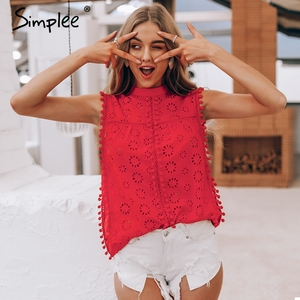 Image 2 - Simplee Elegant tank top women blouse Cotton embroidery red shirts feminina sexy top Stand neck tassel pompon ladies tops female
