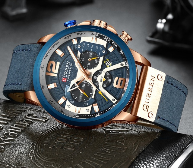 CURREN Top Brand Men Casual Wristwatches Mens Sport Waterproof Quartz Watch Fashion Military Leather Chronograph Montre Homme 2