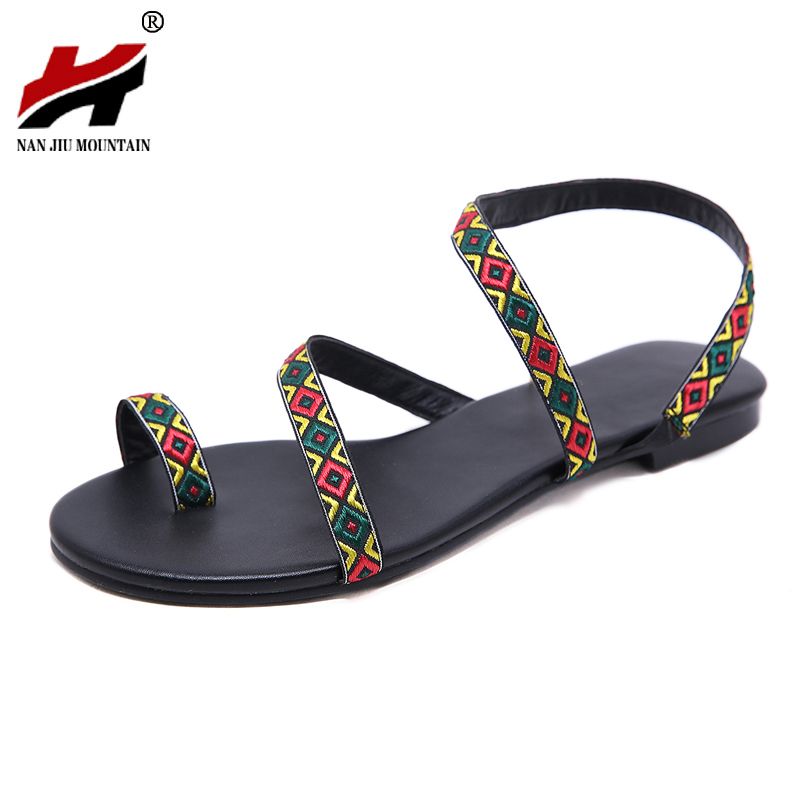 NAN JIU MOUNTAIN Shoes woman Summer Roman Sandals National Wind Handmade  Comfort Flat Woman Shoes Plus Size 35-42 f9a001f9fd9d