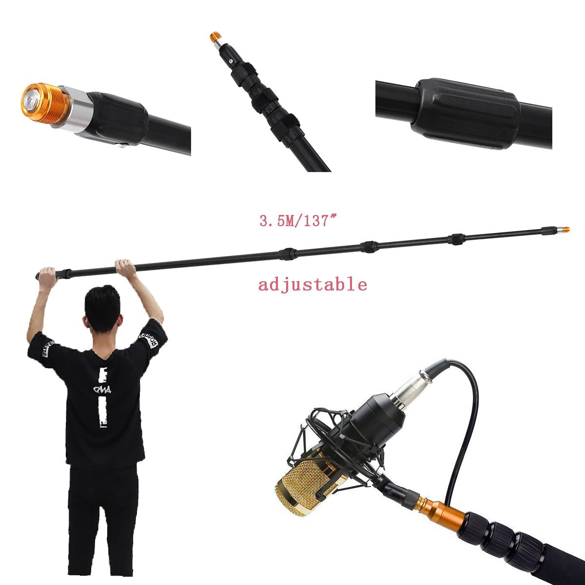 3.5 M 137 pouce alliage d'aluminium Boom Microphone extensible télescopique léger Mic Boom pôle pôle bras Extension