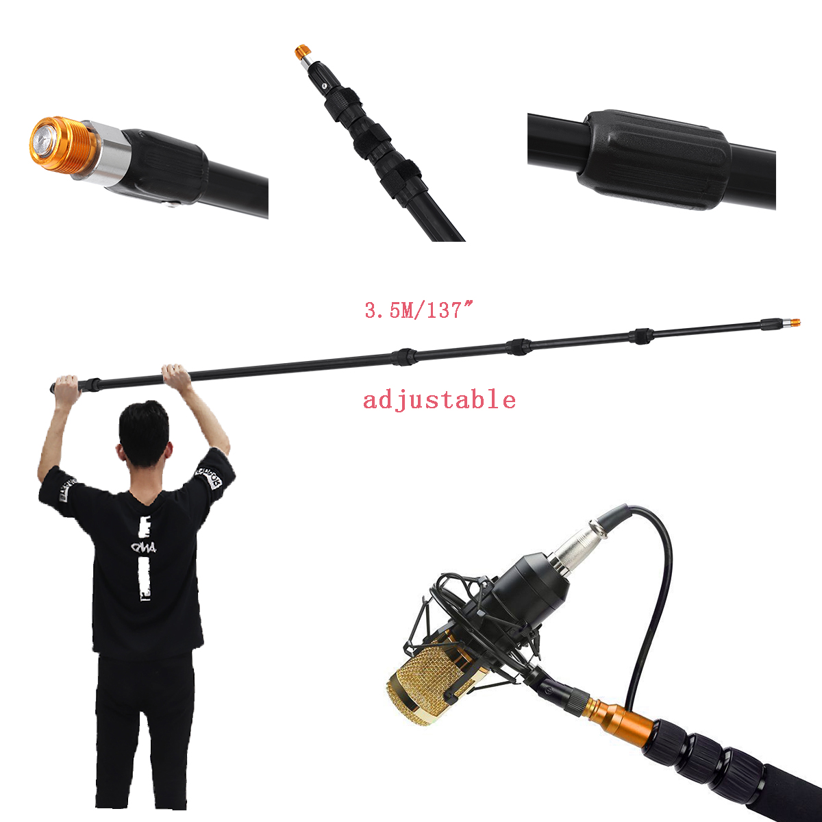 3.5M 137 Inch Aluminum Alloy Boom Microphone Extendable Telescoping Lightweight Mic Boom Pole Pole Arm Extension