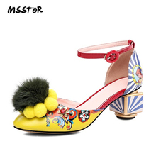 82d1618fb3a79 MSSTOR Appliques Women Shoes Sandals Yellow Flower Strange Style Sexy Party  Buckle Style Ladies Heels Mixed