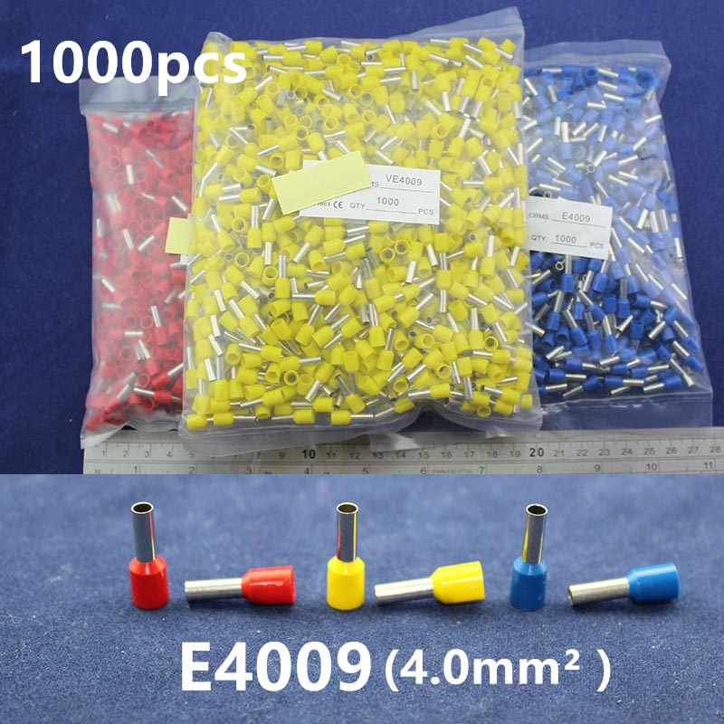 1000Pcs Cord End Copper Tube Connectors Insulated Cord Pin End Crimp Terminals  E4009 for 14-12awg wire 200 pcs awg16 14 wire connector tube head uninsulated pin terminals silver tone