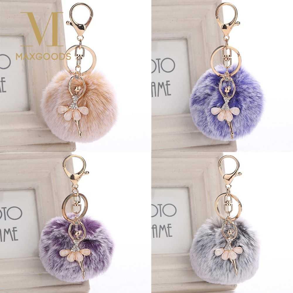 2019 แฟชั่น Dancing Angel Fluffy Pompom พวงกุญแจ Ballerina Girl Ball พวงกุญแจสำหรับผู้หญิงกระเป๋ารถจี้ Key Chain แหวนเครื่องประดับ