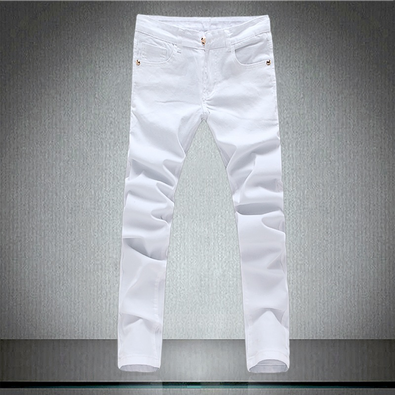 ФОТО Motorcycle Ripped White Jeans Men Biker Distressed Mens Skinny Jeans Homme Famous Brand Men Designer Jeans Joggers Cargo Pants