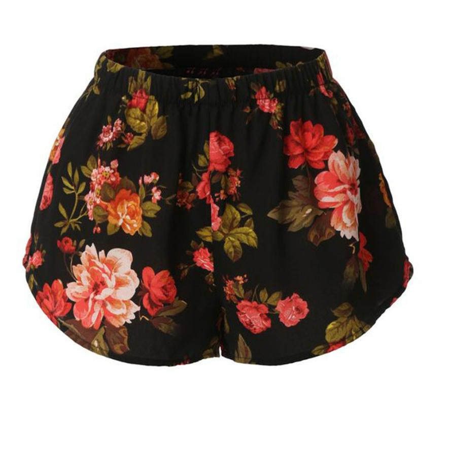 Women Sexy Floral Print Pants Summer Casual   Shorts   High Waist   Short   Pants Plus Size Women's   Shorts   Polyester hot sale Beach