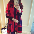 2016 Bear Print Double Faced All-match Cape  Women Lady Cute Shawls and Scarves Winter Scarf Luxurious Women Echarpe Pashmina