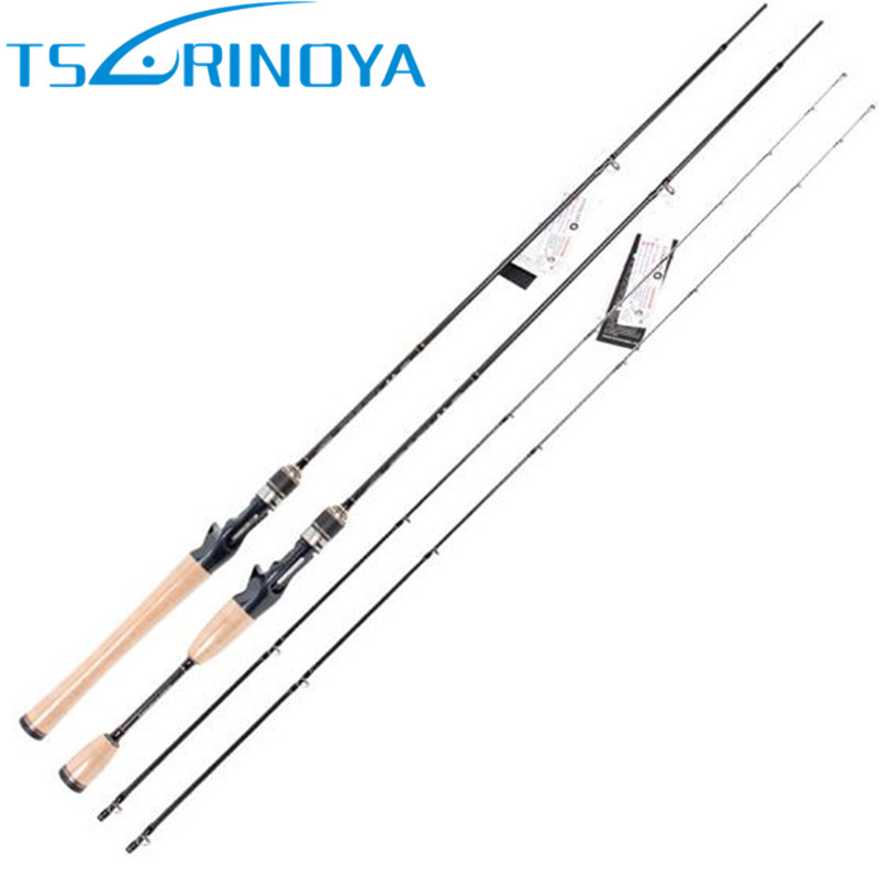 цена Tsurinoya 2 Tips Baitcasting Fishing Rod 1.95m/2.13m ML/M Fast Carbon Lure Rods FUJI Guide Ring Fishing Tackle Canne A Peche