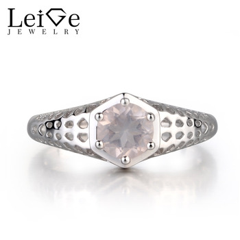 Leige Jewelry Natural Pink Quartz Gemstone Round Cut Prong Setting Wedding Rings For Woman 925 Sterling Silver