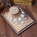 Simulated Pearl Bridal Jewelry Sets Rhinestone Silver Plated Flower Necklace Earrings Sets Wedding Jewelry