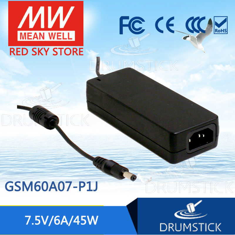 100% Original MEAN WELL GSM60A07-P1J 7.5V 6A meanwell GSM60A 7.5V 45W AC-DC High Reliability Medical Adaptor 1mean well original gsm160a24 r7b 24v 6 67a meanwell gsm160a 24v 160w ac dc high reliability medical adaptor
