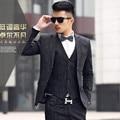 2015 New Arriva  Linen Blazer Suits Men High Quality Mens Suits With Pants Slim Fit Suit Men Costume Homme Black Men's Suit