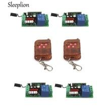 Sleeplion 315MHz 433MHz AC 220V 10A 1CH Relay 4 Receiver 2 4-key wireless RF Control Switch Transmitter
