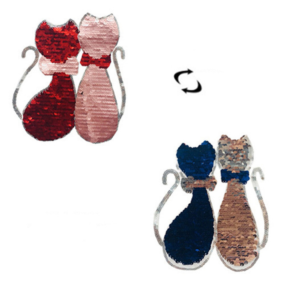 Kucing Kuda Poker Ice Cream Reversibel Mengubah Warna Payet Menjahit Patch Untuk Pakaian Diy Bordiran Tas Pakaian Mantel Celana Jeans Kerajinan Tambalan Aliexpress