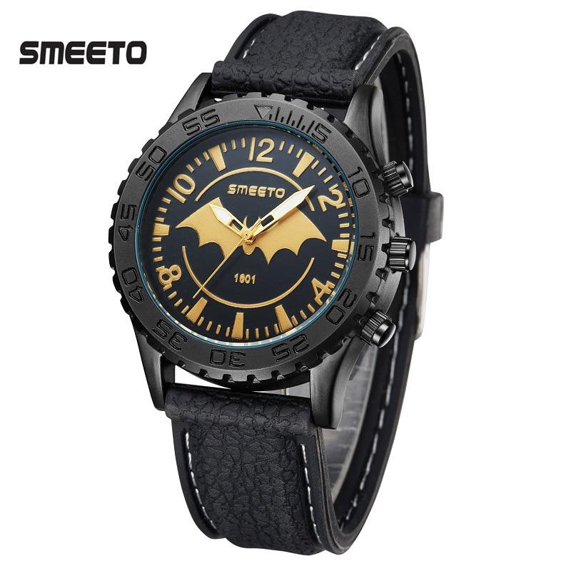 New Designer Batman Gold Emblem Watches Men Leather Strap SMEETO Sports Military Quartz Watch Waterproof Clock Relogio Masculino