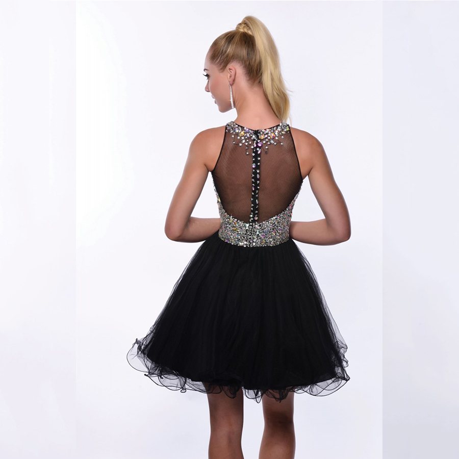 8da375fe4 Vestido de bola de mascarada vestido de fiesta con cristales Corset Sparkly  para octavo grado adolescentes Sexy Short Prom Dresses 2016 azul marino en  ...