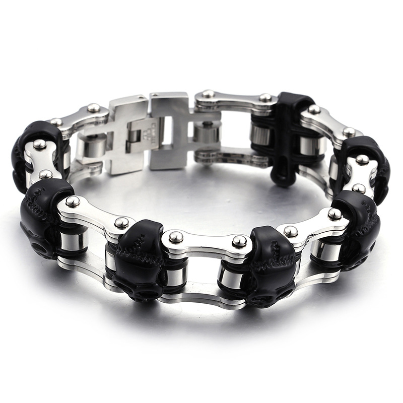 Skeleton Headwear Solemaking Cast Stainless Steel Accessories Men's Black Individual Bicycle Chain Bracelet