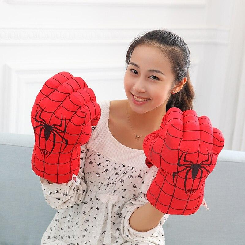 anime plush toys Incredible Hulk Spiderman Smash Hands soft stuffed Plush Punching Boxing Fist Gloves Superhero dolls