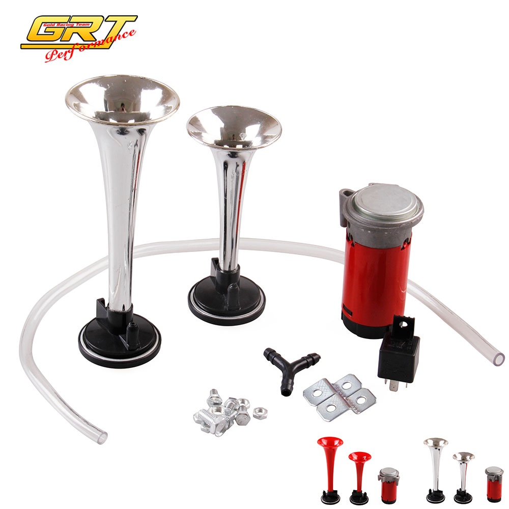 Grt-forte 12 V 135db Twin Trumpet Air Horn & Set Compressore Kit Car Boat Truck Chrome O Rosso Ah006