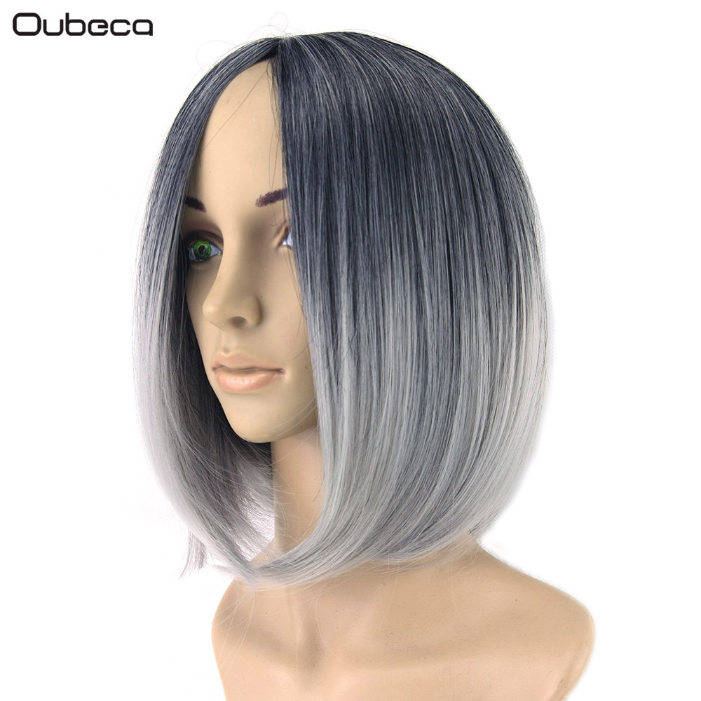 OUBECA Short Straight Ombre Black To Gray Pink Brown Cosplay Party Wigs Womens Bob Wig Heat Resistance Synthetic Hairpieces