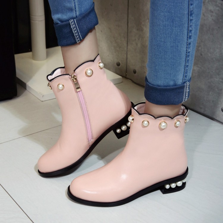 ФОТО 2017 Fashion Newest flat heels round toe ankle high woman boots string bead bots woman Hot Selling pink black leather boots