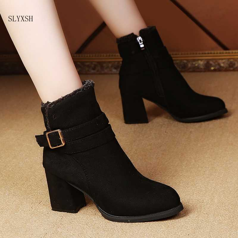 SLYXSH 2018 newWomen Ankle Boots  Boots Side Zipper Belt Buckle Booties Party Boots