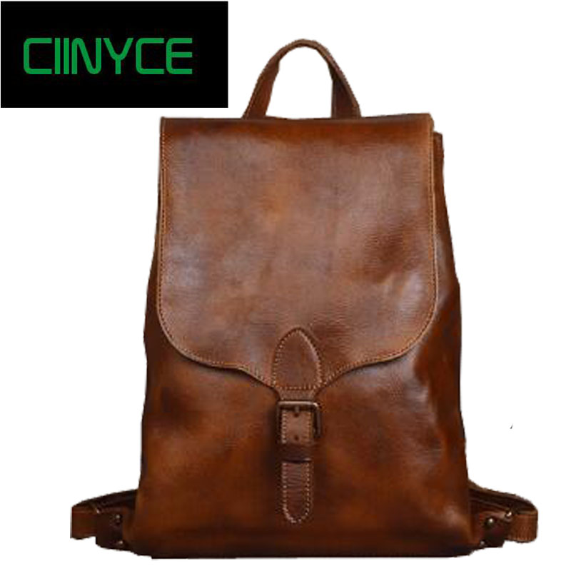 Vintage 2018 genuine Cow leather Tanned women 14 inches packs Hand Crafts Oil wax Cowhide Male Laptop School Travel Backpack bag women s oil wax genuine cowhide leather backpack lady girl school bag crossbody shoulder travel bag for woman mr1037