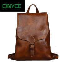 Vintage 2018 genuine Cow leather Tanned women 14 inches packs Hand Crafts Oil wax Cowhide Male Laptop School Travel Backpack bag