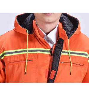 Image 5 - Зимние комбинезоны, теплая рабочая одежда с хлопковой подкладкой и капюшоном, пыленепроницаемые зимние уличные пальто для рыбалки, Рабочие Комбинезоны