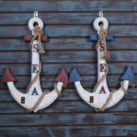 Diy Ocean Series Wooden Crafts Gift Anchored wall decoration Figurine Mediterranean Home Decoration Furnishing Articles
