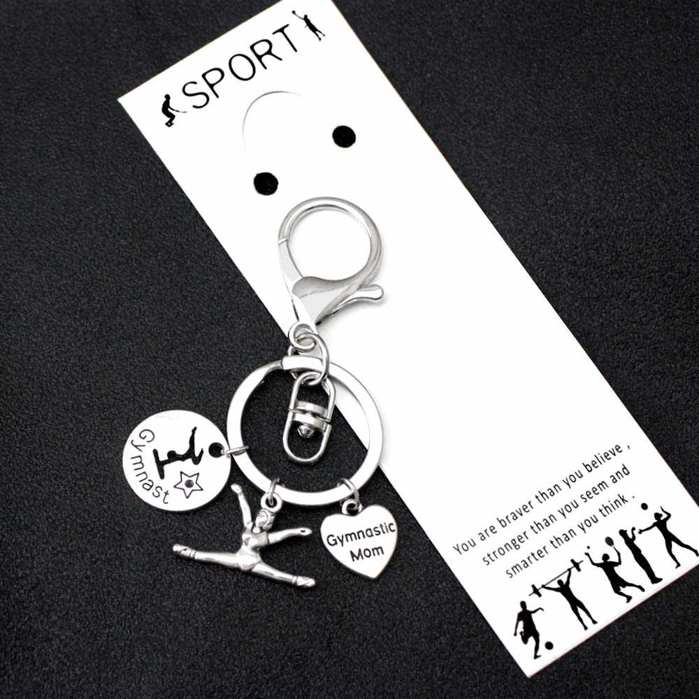 Я люблю гимнастику гимнаст брелки танцор Спорт Единорог ключ цепочка с застежкой-лобстером ювелирные изделия для девочек для женщин мужчин брелок