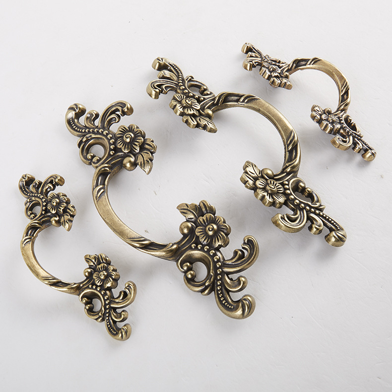 2PCS/LOT Free Shipping Small Antique Zinc Alloy Bronze Flower Style Cabinet Drawer Handle Furniture Hardware bathroom sink faucets deck mount long spout washbasin mixer taps chrome
