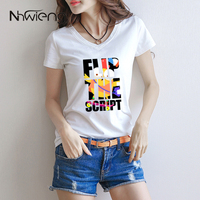 Cute Summer Cartoon Printed Women Camiseta Blouse V Neck Short Sleeve T Letter Flip Yellow Bird