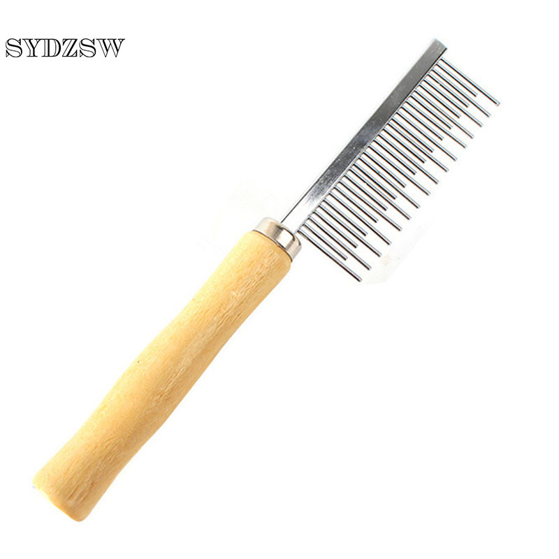 SYDZSW Pet Shedding Comb For Longhaired Dogs Cats Smooth Wood Handle Pet Dog Comb Hair Grooming Products