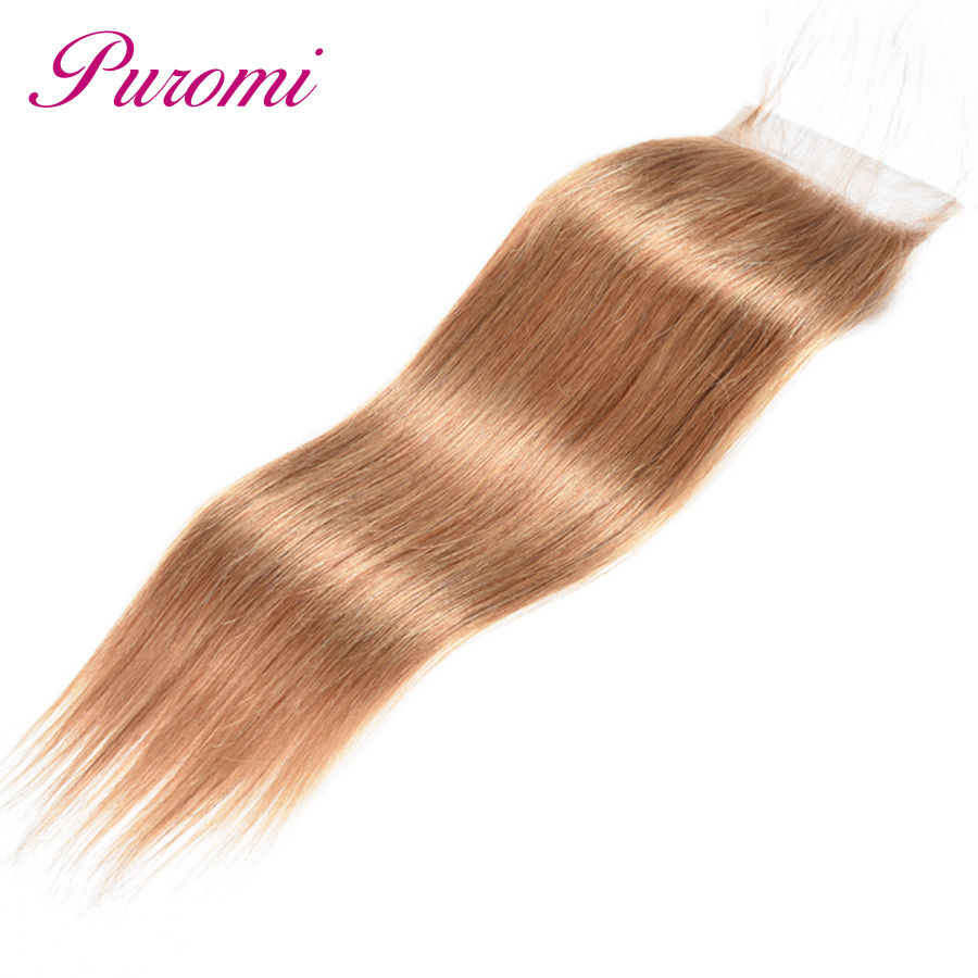 Dutiful Puromi Hair Straight Closure Honey Blonde #27 Brazilian Hair Closure Non Remy Human Hair Lace Closure Har Extensions 10-22 Attractive Designs; Hair Extensions & Wigs