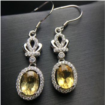 Citrine earring Free shipping earrings Natural real citrine 925 sterling silver Fine yellow crystal  6*8mm