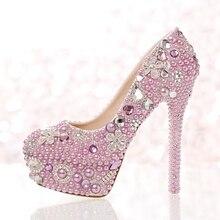 58cabbacb5197e Belle Lavande Pourpre Perle Chaussures De Mariée Événement Spécial Partie Haute  Talons Femmes De Bal Robe