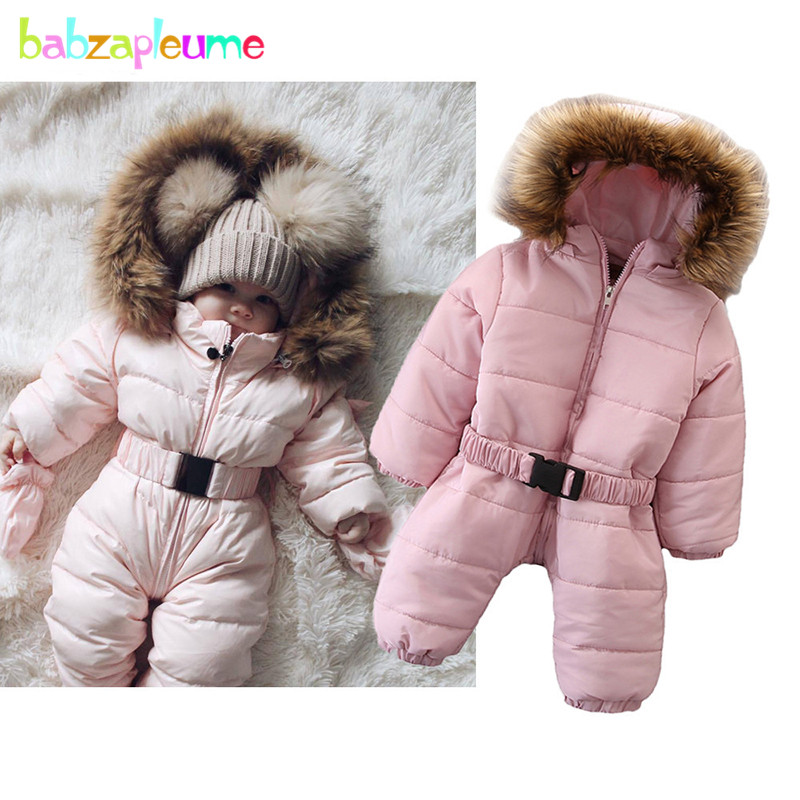 babzapleume 2019 Winter Jumpsuit Newborn Warm Fur Collar Rompers Cute Baby Clothes Toddler Costumes Little Girls Clothing BC1593