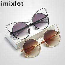 IMIXLOT 2017 New Women Sunglasses Vintage Cat Eye Sun Glasses Metal Eyeglasses Frames Mirror Shades Sexy Sunnies UV400
