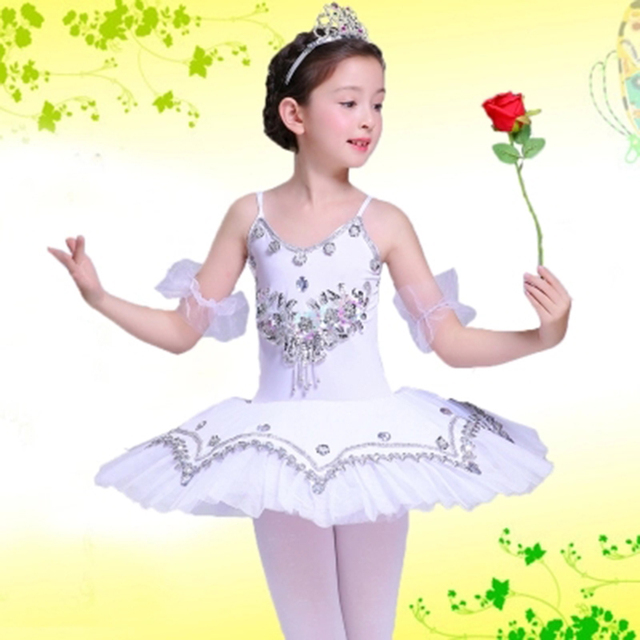 a51e89fed Professional Kids White Swan Lake Ballet Tutu Dress Child Sequined ...