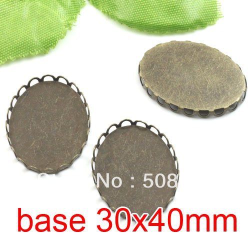 Free shipping!!! 200pcs oval silk bronze Picture Frame charms Pendants 30x40mm,Cameo Cab settings